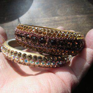 Brown and Gold Rhinestone Bangles